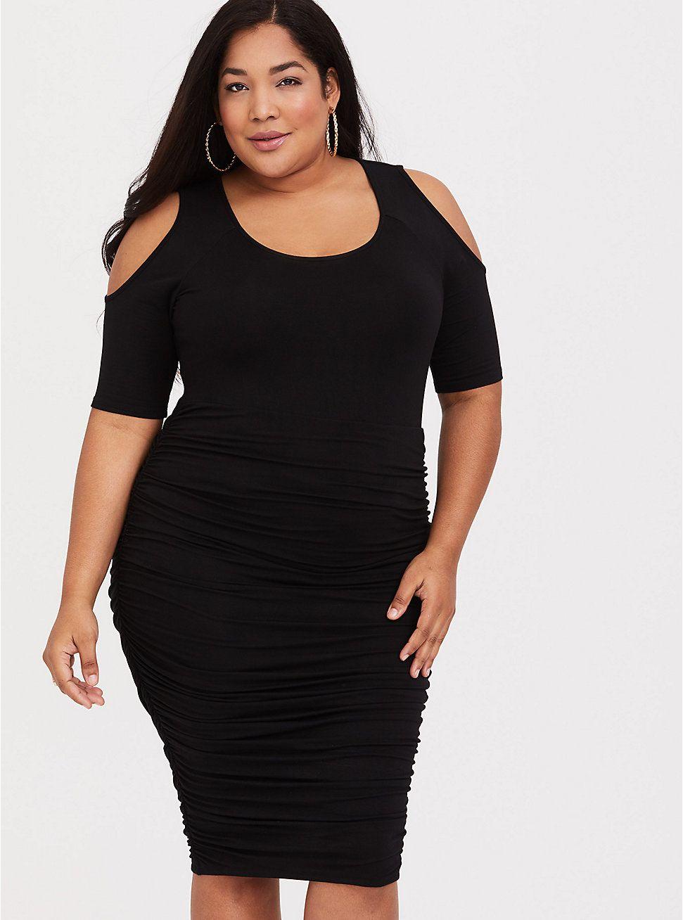 14f5f5aac9e Black Jersey Shirred Midi Dress in 2019