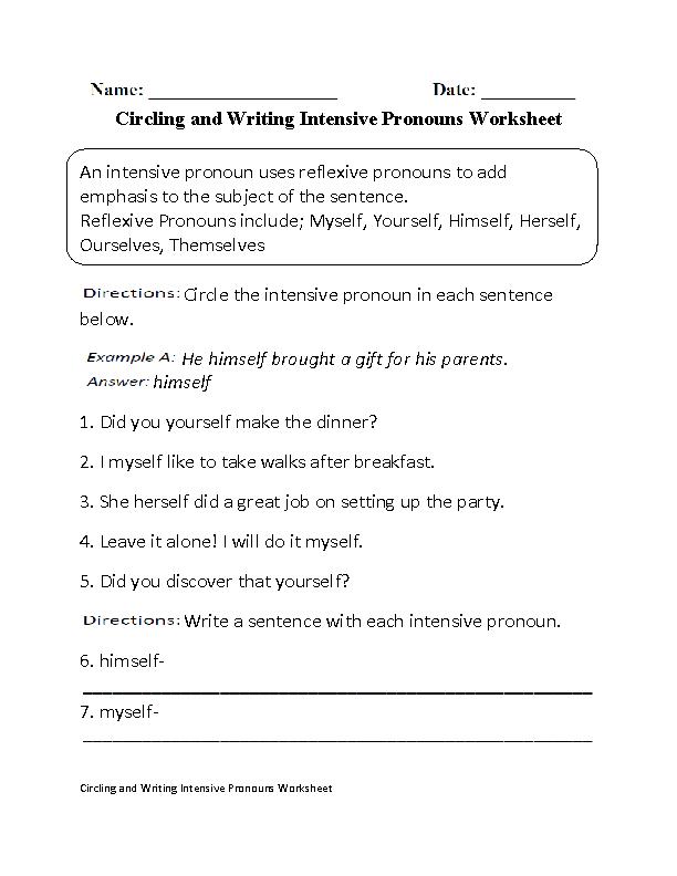 circling and writing intensive pronouns worksheet part 1 pronoun fun pinterest pronoun. Black Bedroom Furniture Sets. Home Design Ideas