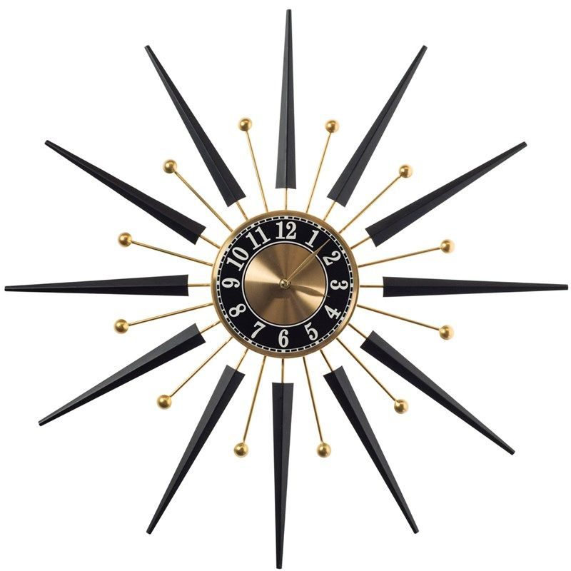 Shop Crackerbarrel Com Home Furniture Home Decor Clocks Starburst Wall Clock 616519 Wall Clock Wall Clock Classic Retro Wall Clock