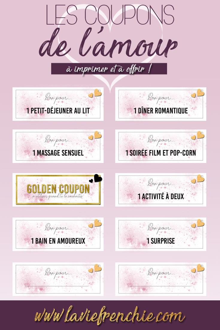 Les coupons de l'amour à imprimer et à offrir ! Article - La Vie Frenchie blog  Love, couple, amour, coupons de l'amour, freebies, gratuit, à télécharger, printable, printable freeebies, à imprimer, creation, blogging, lifestyle, blog, baby blogger, blogueuse, La Vie Frenchie.