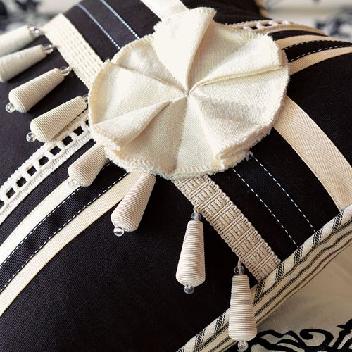 Evelyn Decorative Pillow in Ink Black with Trims from #PoshLiving!!