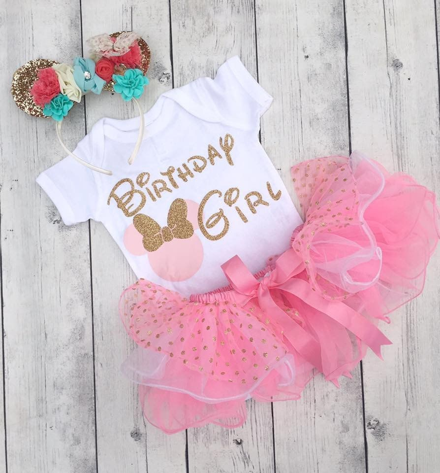 Pink and Gold  Baby Girl Adorable Minnie Mouse Personalized Birthday Outfit Minnie Mouse Birthday First Birthday