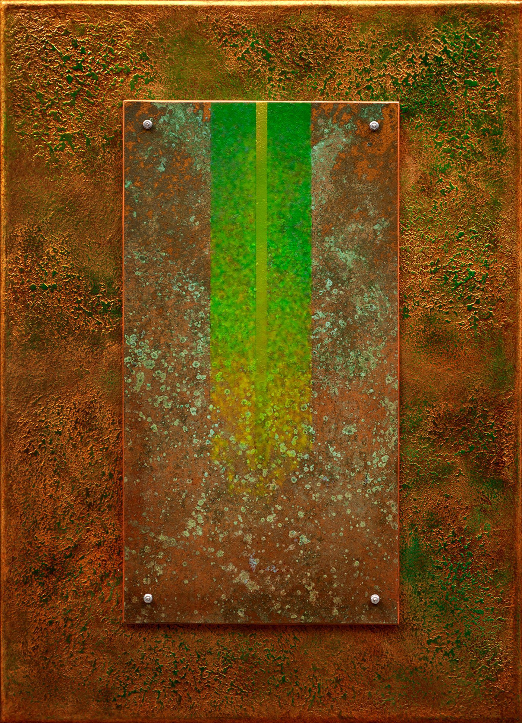 Golden Reyes 09 In Green By Wolfgang Gersch Giclee Print On Aluminum Artful Home Sheet Metal Art Giclee Print Original Mixed Media