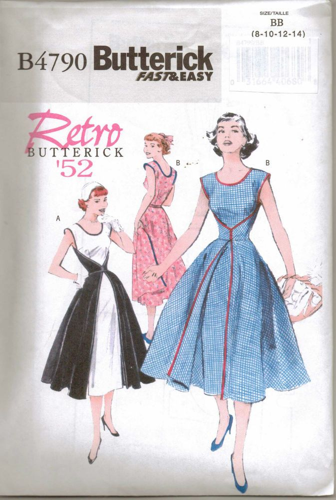 From UK Sewing Pattern Dress 1950 s full skirt wrap rockabilly 8-14 #4790