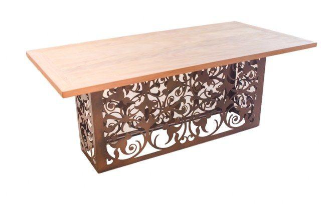 19088 Base Retangular Flor De Liz 150 X 50 X 76cm Cnc Furniture Resin Table Decorative Panels