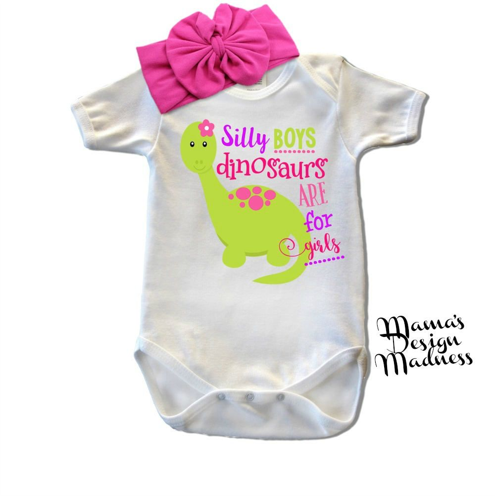 5465402a1 Custom Baby Girl T-Shirt W/ Headband - Dinosaurs - Baby Outfit - Funny Baby  Onesie - Custom Toddler Tee - Newborn Girl - Cute Girl Clothes by ...