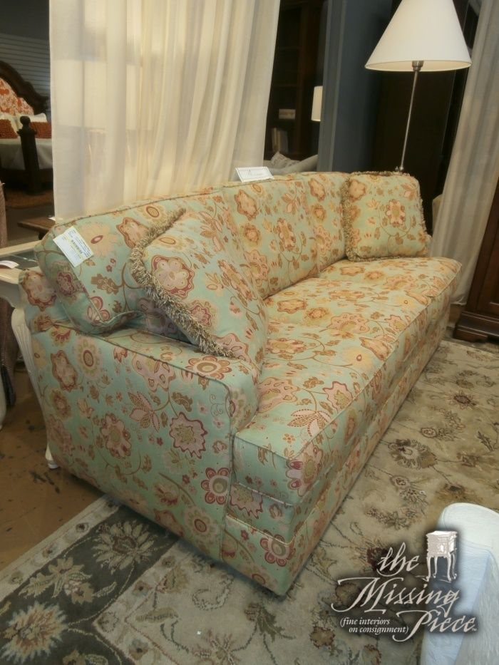 Square Arm Three Cushion Sleeper Sofa By Thomasville In Mint Rose And Cream So Sweet Measures 78 38 37
