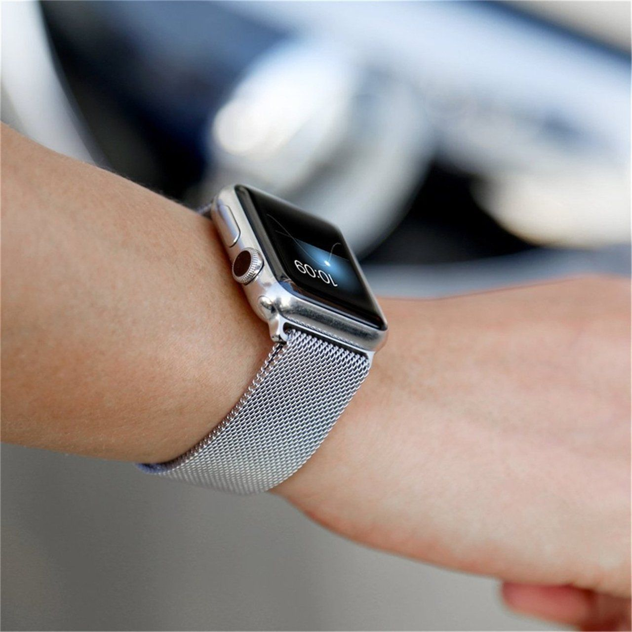 Amazon Com For Apple Watch Band Milanese Loop Likeity Stainless Steel Magnetic Band With Metal Case For A Apple Watch Bands Apple Watch Bands 42mm Watch Bands