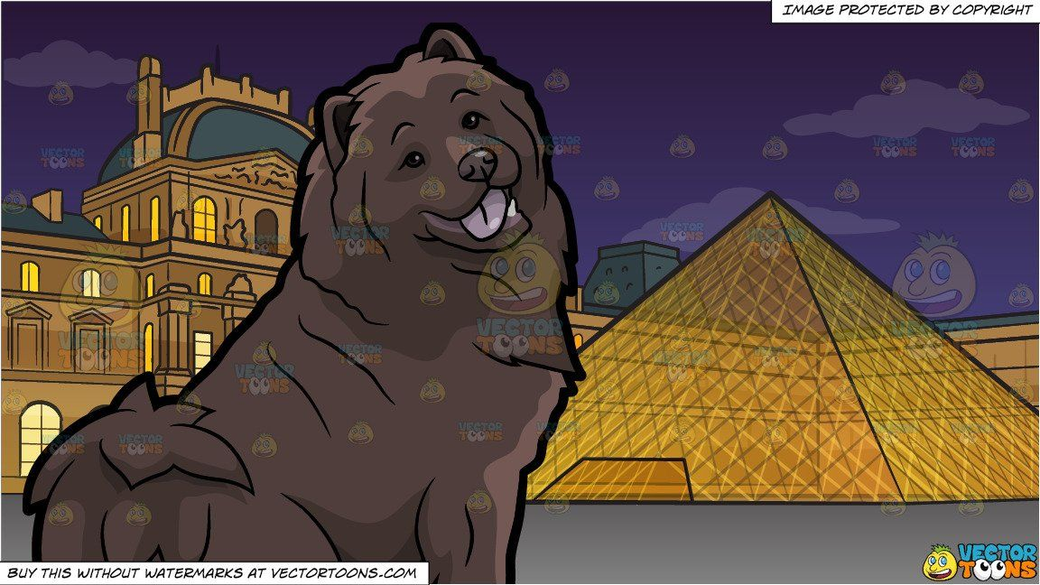 Clipart Cartoon A Pretty Chocolate Brown Chow Chow Dog And The