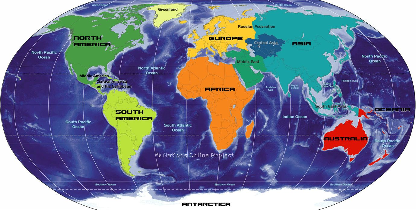 Map Of The Continents Of The World Africa Antarctica Asia - 5 continents of the world map