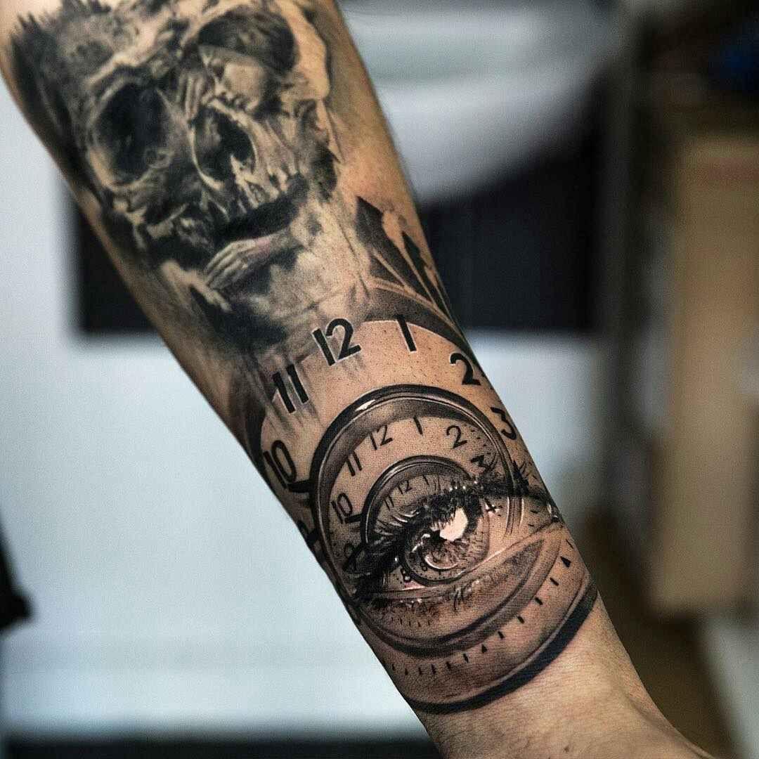 Niki23gtr Tatuaje Reloj Y Calavera Tattoos Tatuajes Realistas