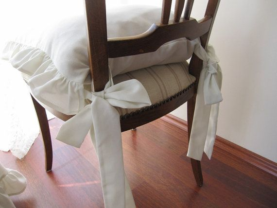 Ruffled Chair Cushions Set Of 4 Pcs 14 Inch 3 Sides Ruffle With Long Ties  Eggshell White Linen.