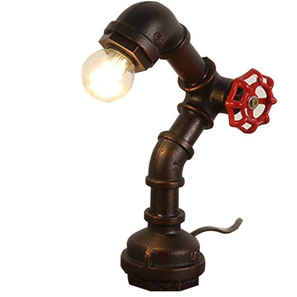 Rohr Tisch Vintage industrielle Steampunk-Stil Eisen Schreibtisch Licht E27 Lamp