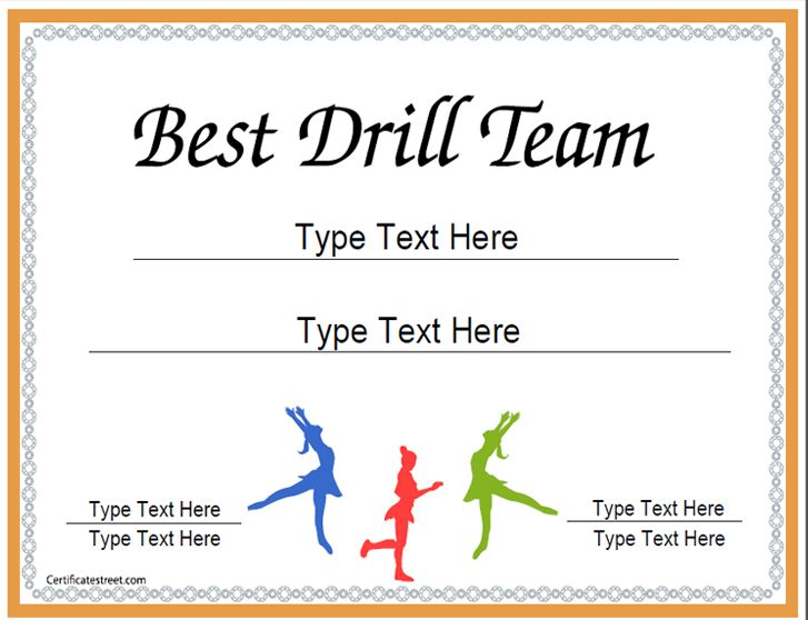 Sports certificate certificate for best drill team for Team certificate template