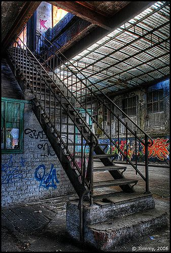 Stairs in an old machinery factory in Brussels, Belgium.