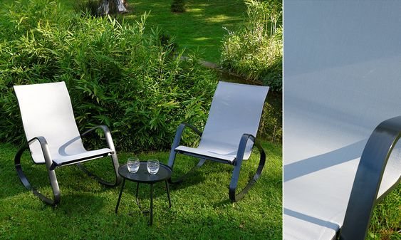 Set Relaxsessel DREAM hellgrau + Beistelltisch #Relaxsessel #Garten