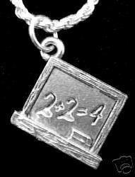 Math Chalk Black Board Teacher back to school Charm Sterling Silver 925 Jewelry