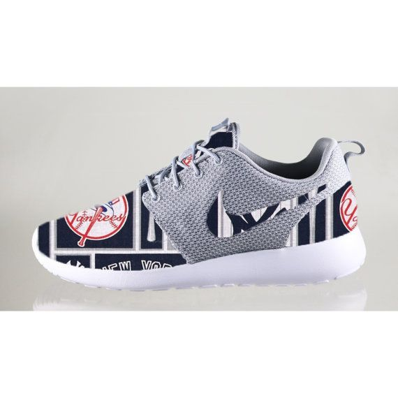 New Nike Roshe Run Custom New York Yankees Or Any Other Team Red White Blue  MLB Edition Mens Shoes Sizes 8 - 13
