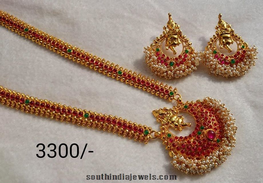 Imitation Long Necklace Set with Matching earrings | Temple, Jewel ...