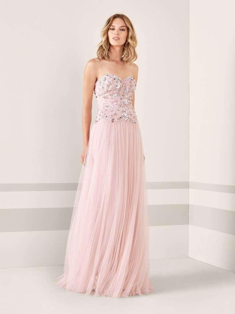 Abiti da cerimonia Pronovias 2019 - Long dress rosa plissé Pronovias ... 1c62a3e3532