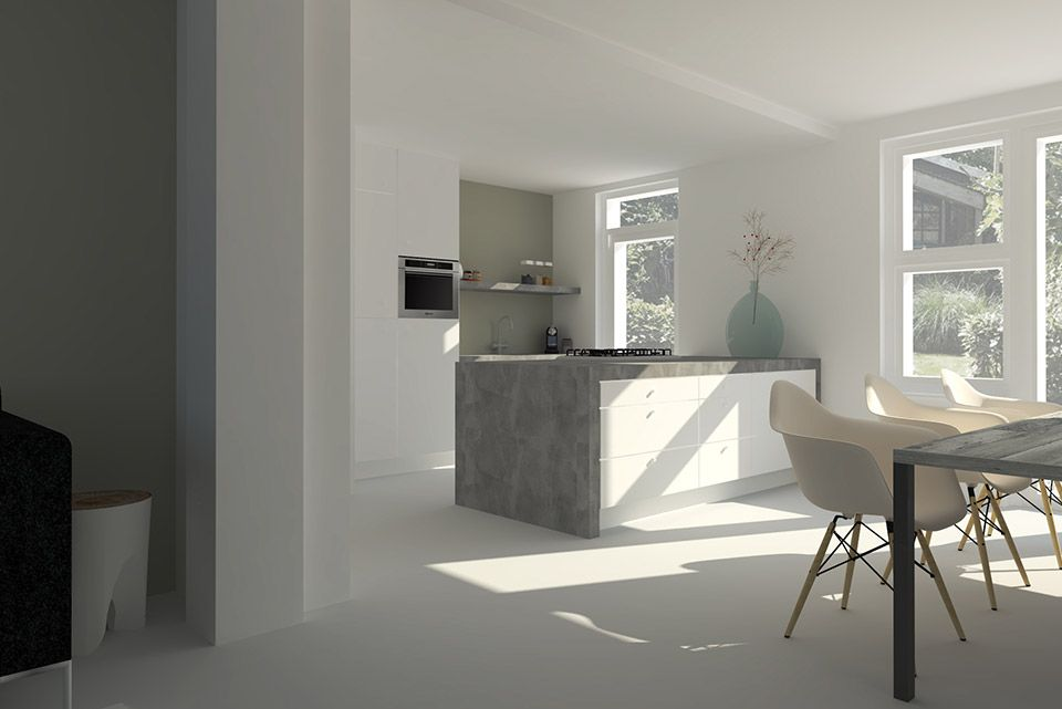 modern en licht interieur met haard kastenwand en bank