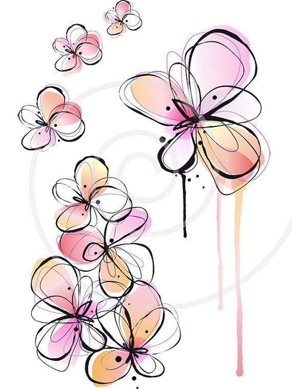 Abstract spring flowers digital clip art floral clipart ink abstract spring flowers ink drawing watercolor by illustree 500 mightylinksfo
