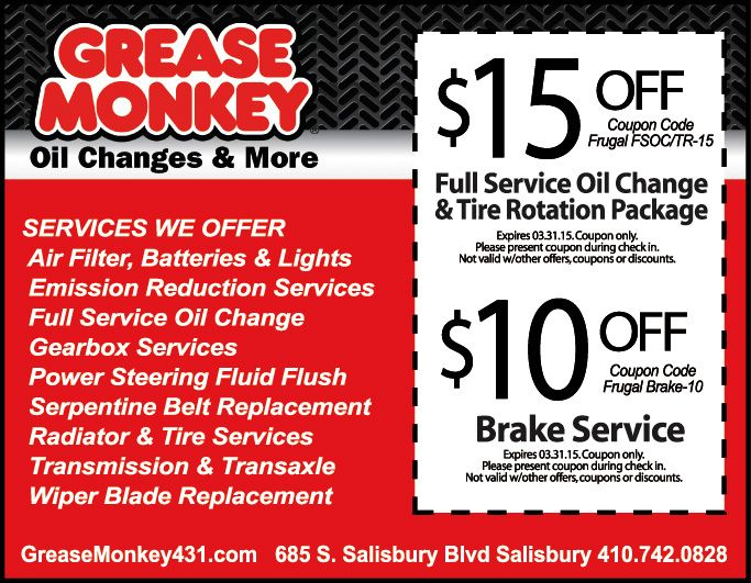 image relating to Grease Monkey Coupons Printable known as Help you save $15 off a comprehensive assistance oil distinction tire rotation
