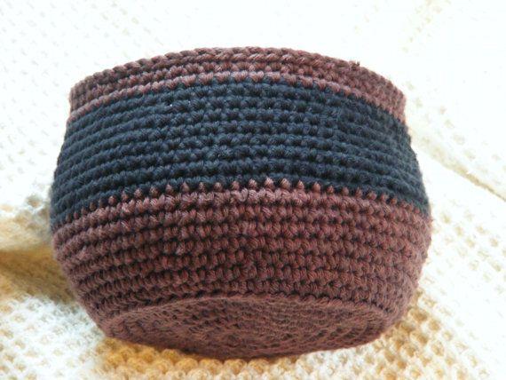 Crochet Storage Basket Handmade Cotton Yarn Bowl. $25.00, via Etsy.