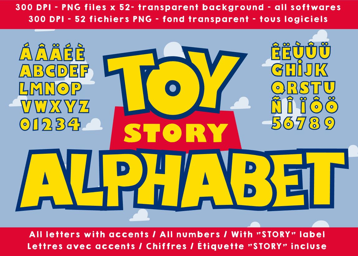 Toy Story Alphabet Letters Numbers 300 Dpi Png Cliparts Images Transparent Background Toy Story Birthday Party Toy Story Toy Story Party
