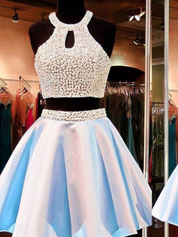 Short homecoming dress two pieces dressbeading dresscrop tops dressjunior dresscheap also rh pinterest