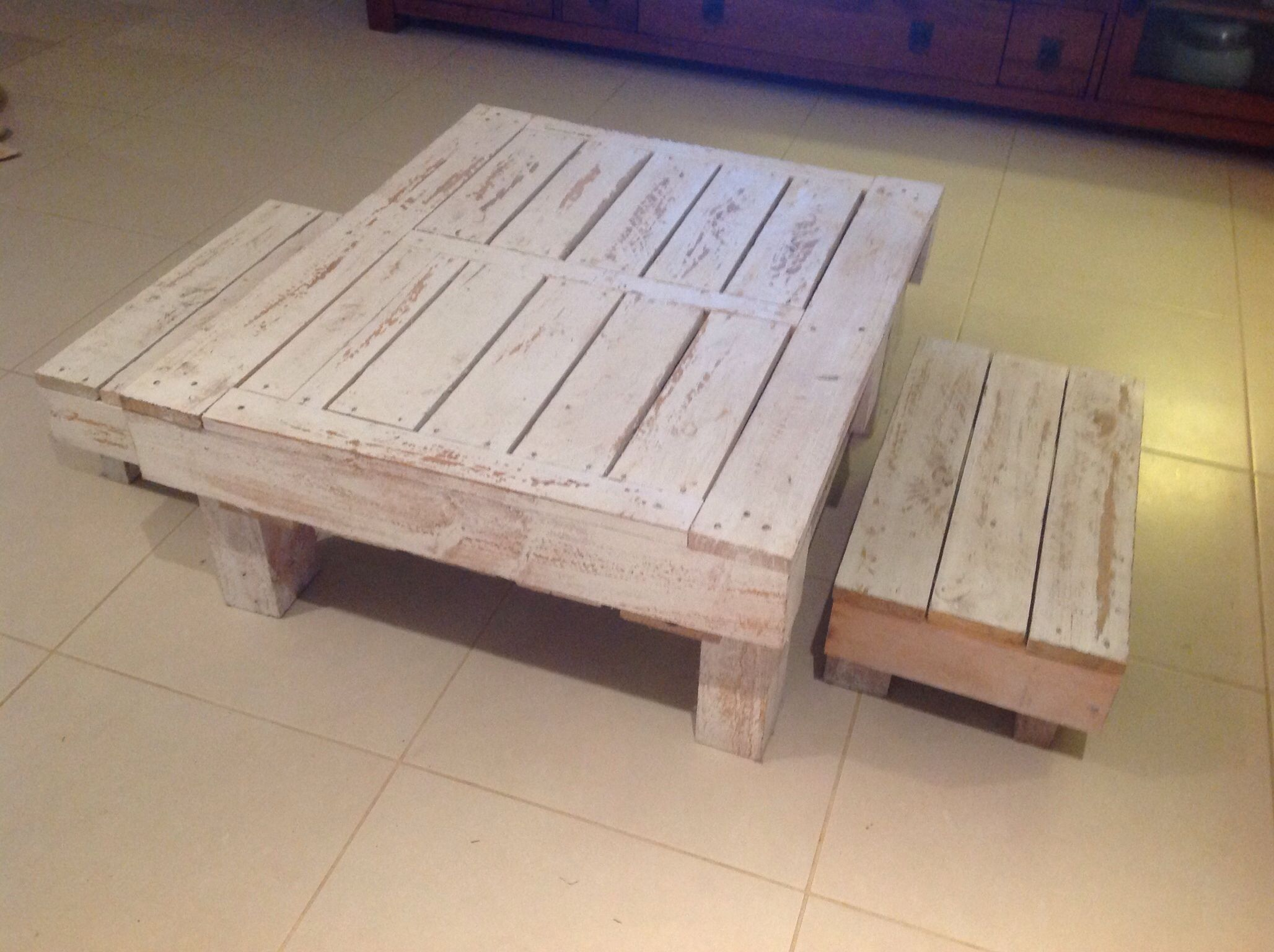 Pallet table and bench set for kids a coffee table on its own