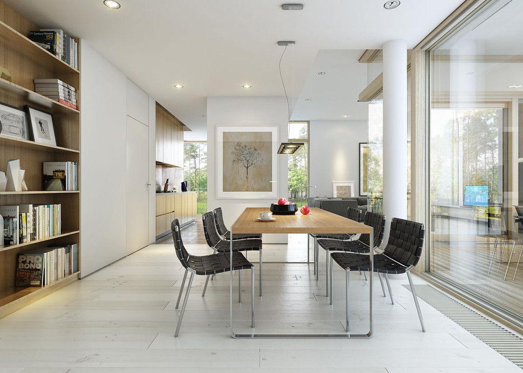 Offene Design-Küche mit Theke und Esstisch - Inneneinrichtung Haus - wohnzimmer und küche zusammen