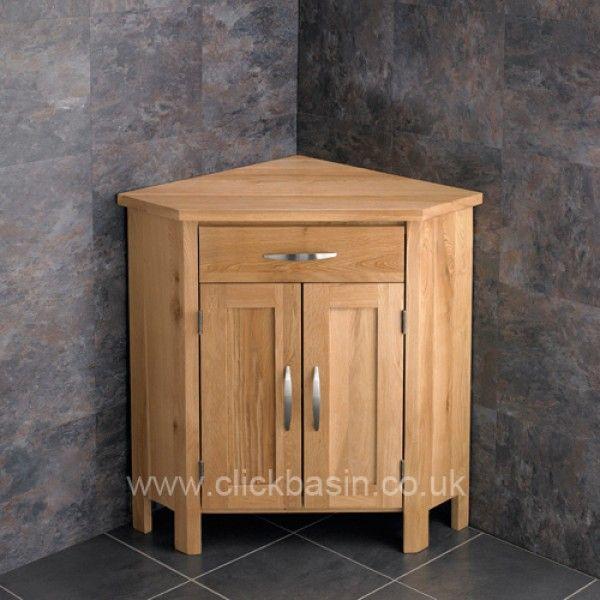 Corner Bathroom Vanity Oak Padova Round Frosted Basin