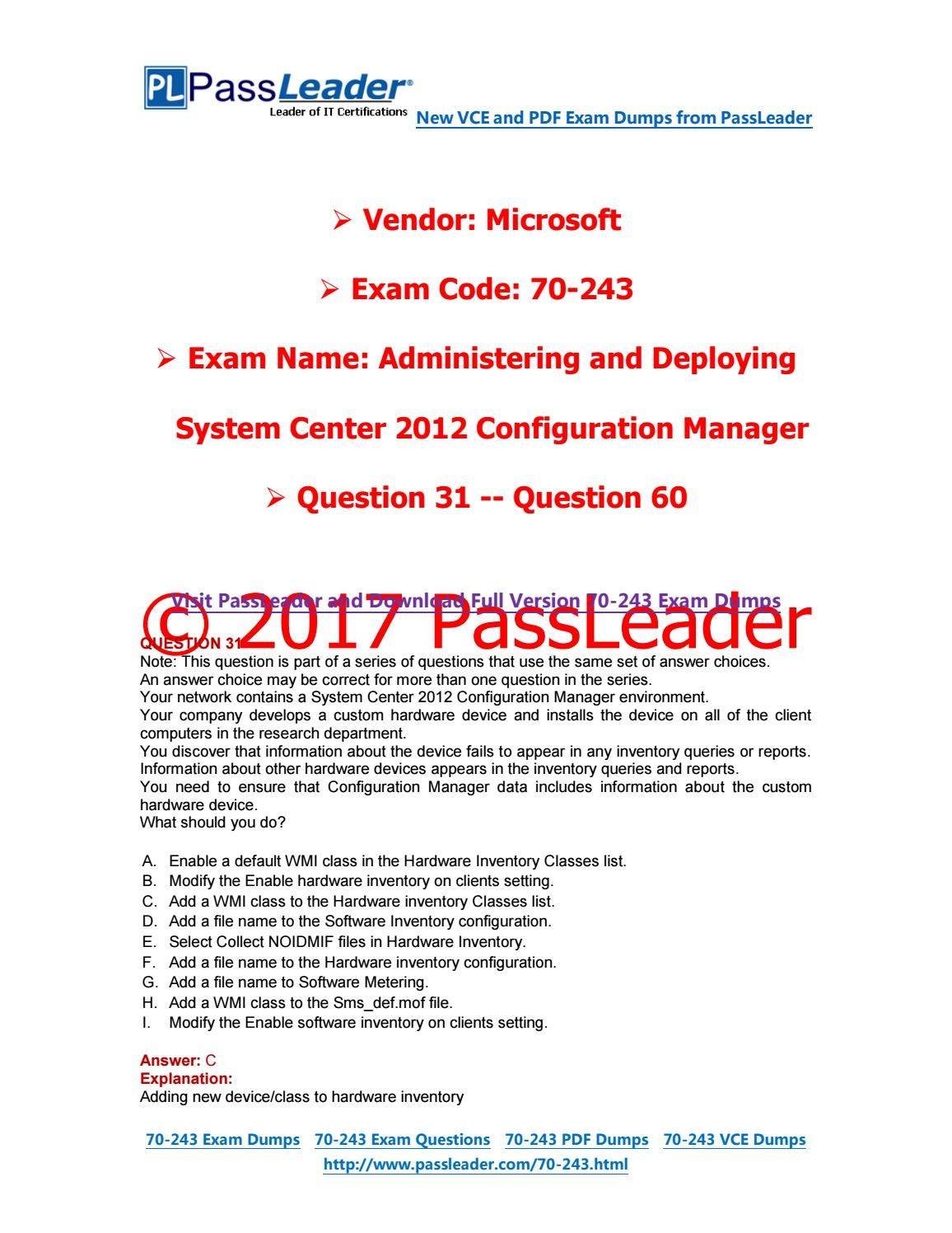 2017 Passleader 70 243 Dumps With Vce And Pdf Question 31