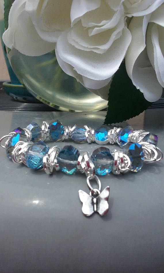 Birthstone Bracelets Birthday Gifts 7 long  Aquamarine