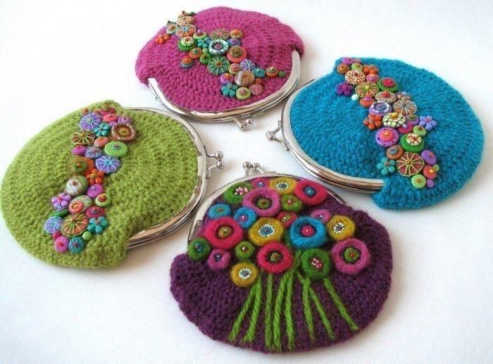 Monederos tejidos en crochet - Imagui MONEDEROS FLOR VINTAGE