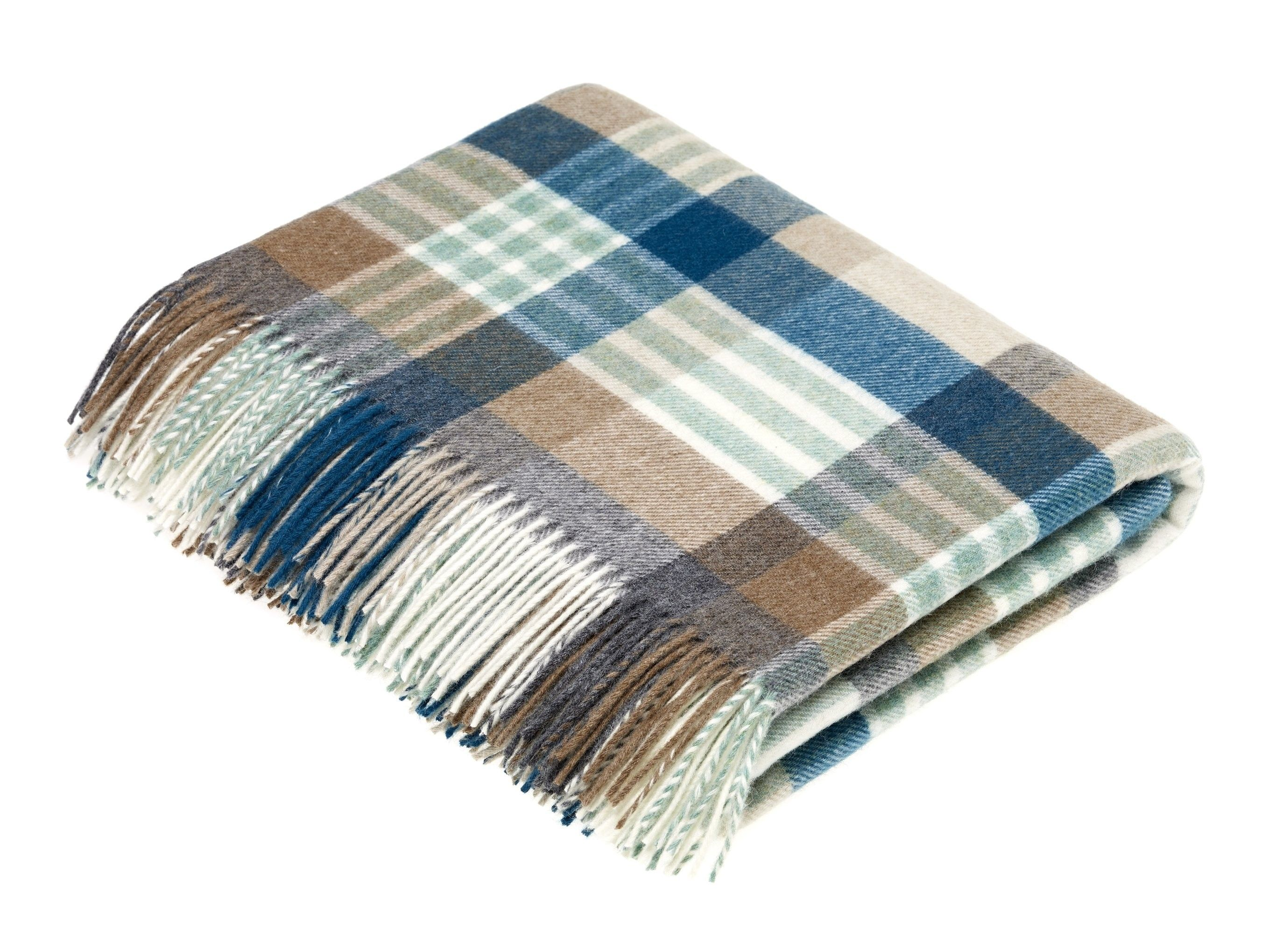 New Bronte Moon Melbourne Check Throw Blanket Eucalyptus