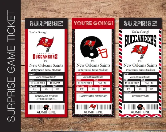Surprising A Special Person With A Football Ticket Communicate The Gift With This Surprise Gift Game Ticket Simply Do Surprise Gifts Surprise Game Tickets