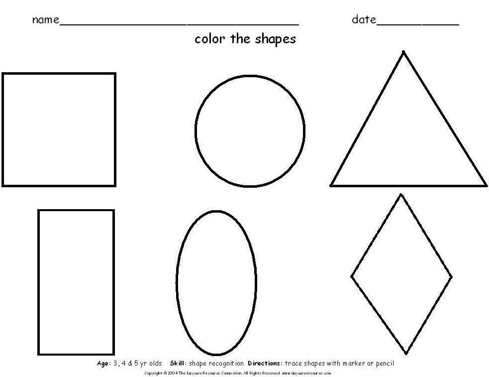 Free Printable Preschool Worksheets Shapes In 2020 Preschool