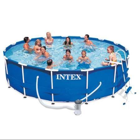 Intex 15 X 42 Metal Frame Swimming Pool Set With 1000 Gph Gfci
