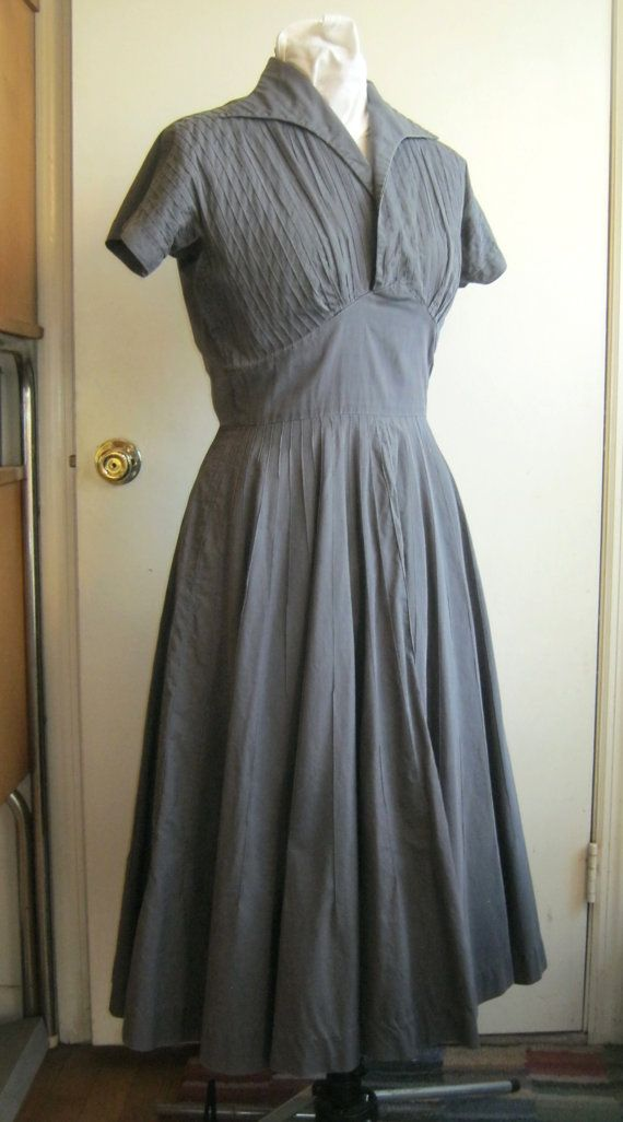 efcfdac4eab 1950s avant-garde grey shirtdress shelf bust pintucks circle skirt Pat  Hartly kimono sleeves architectural