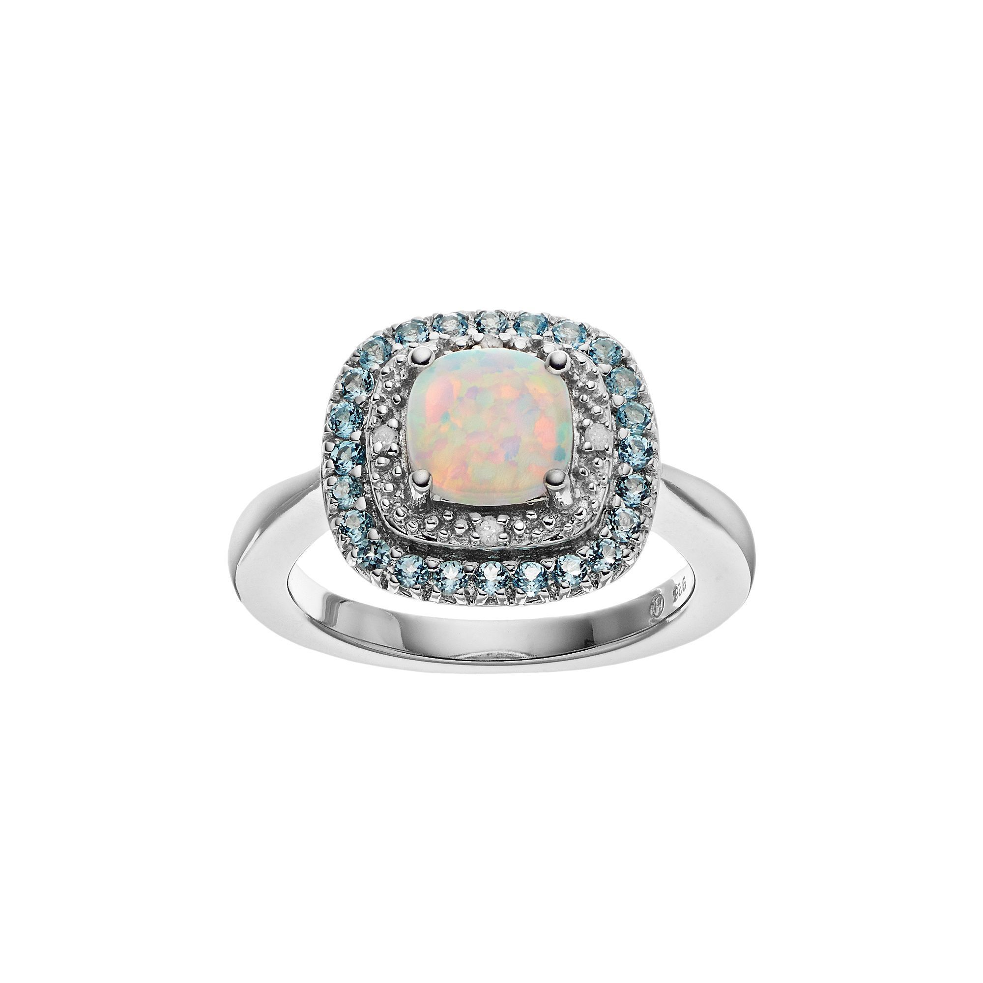 Sterling Silver Lab-Created White Opal & Blue Topaz Halo Ring, Women's, Size: 8