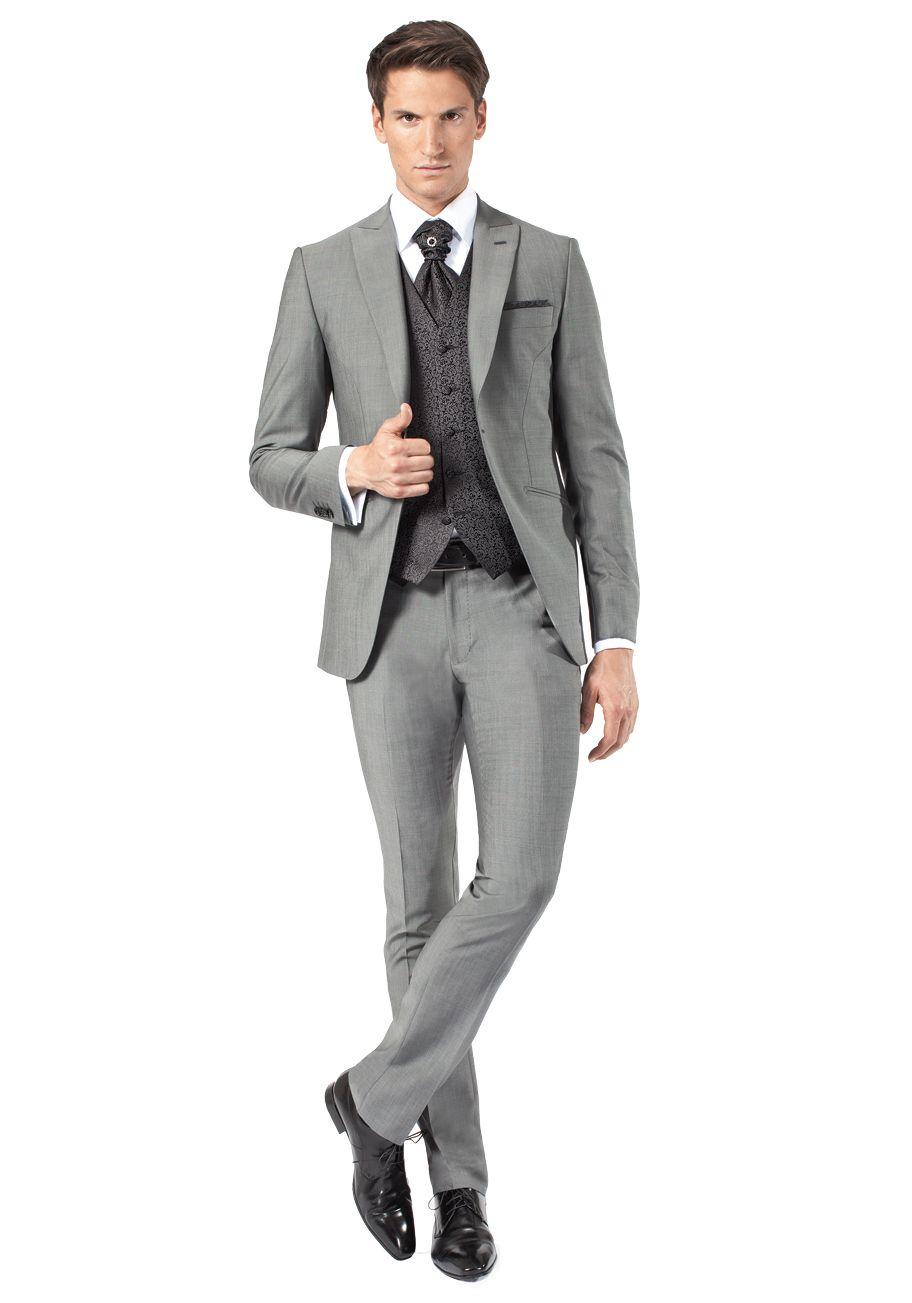 Costume gris mariage   Costume de marié gris avec gilet pour homme - Jean  De Sey e30bf00652c0