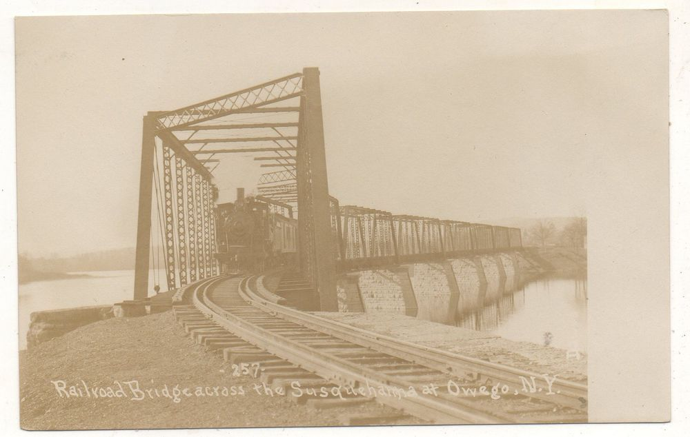RPPC Railroad Train, Bridge Susquehanna River OWEGO NY