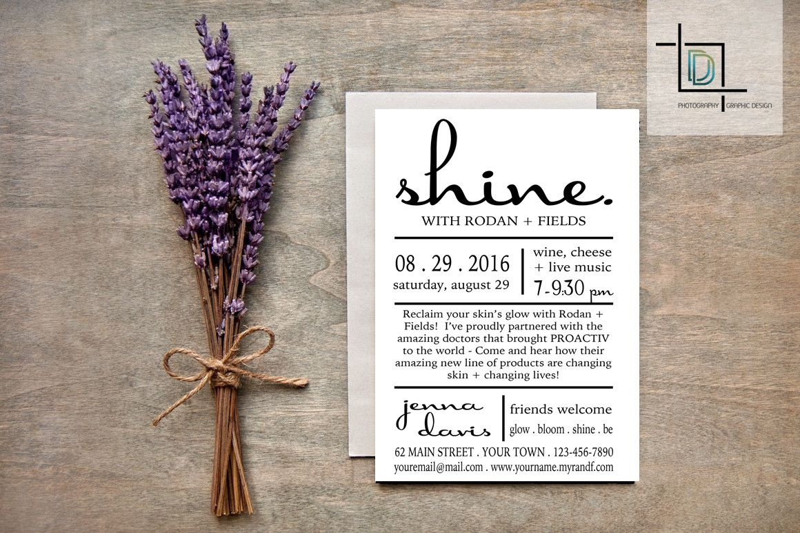 Check it out here  http://digitaldetours.myshopify.com/products/rodan-fields-pdf-party-invite-independent-consultant-business-branding-marketing-rf-shine-invite