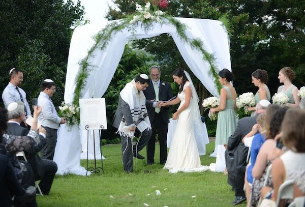 Outdoor Jewish Wedding Ceremony Breaking Gl By Whitmeyer