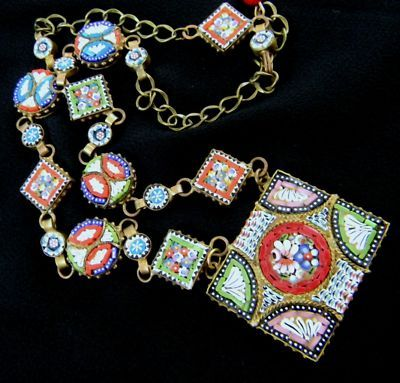 Old RARE Geometric Italian Micro Mosaic ArtNecklace | eBay