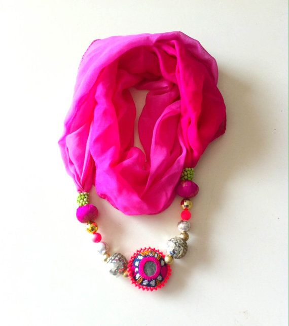 #PINK #NECKLACESCARF / #Handmade embroidered #unique #scarves by iThinkFashion
