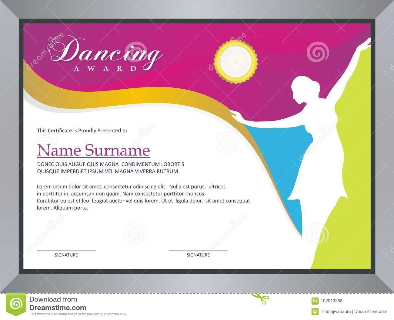 The Charming Dancing Award Stock Vector Illustration Of Ballet Certificate Templates Certificate Of Participation Template Certificate Of Achievement Template Dance certificate templates for word