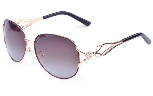 5f57e4a16b Outray Womens Crystals Oval 55mm Polarized Sunglasses 2053 Coffee     Check  out the image